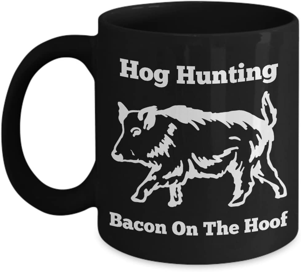 Amazon Com Funny Wild Boar Hunt Mug Hog Hunting Bacon On The Hoof Feral Pig Shooting Cup Kitchen Dining