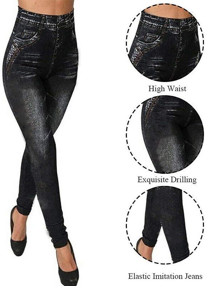 beautyjourney Leggings de Mezclilla de Imitación para Mujer ...