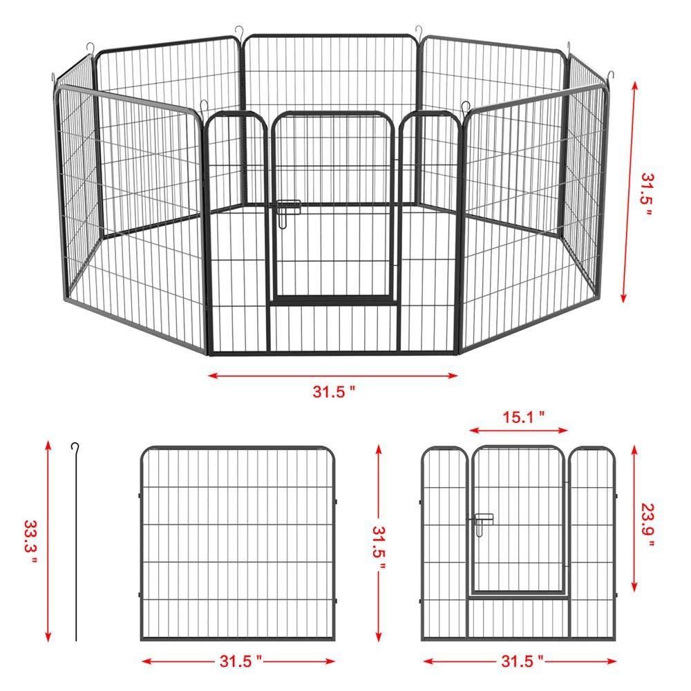 Yaheetech Dog Pen Playpen Play Yard Foldable - Portable Pet Puppy Cat Metal Exercise Barrier Fence w/Door Outdoor Indoor 32 inch 8 Panel Black