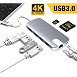 """USB C Hub, ALLEASA 8 in 1 Type C Adapter with 4K HDMI, Gigabit Ethernet, 100W USB C Power Delivery, 3 USB3.0, SD TF Card Reader for MacBook Pro 13"""" 15"""" 2018/2017 Chromebook DELL XP Windows (Grey)"""