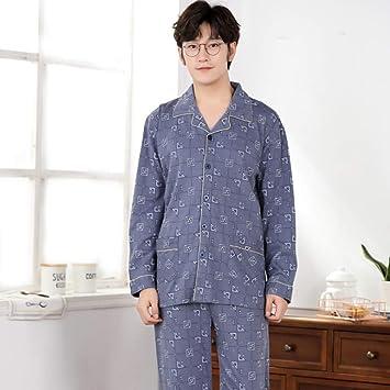 Loveni Pijama para Hombres 2 Piezas Set Pijamas De Manga Larga Estampados Grises Prendas De Vestir