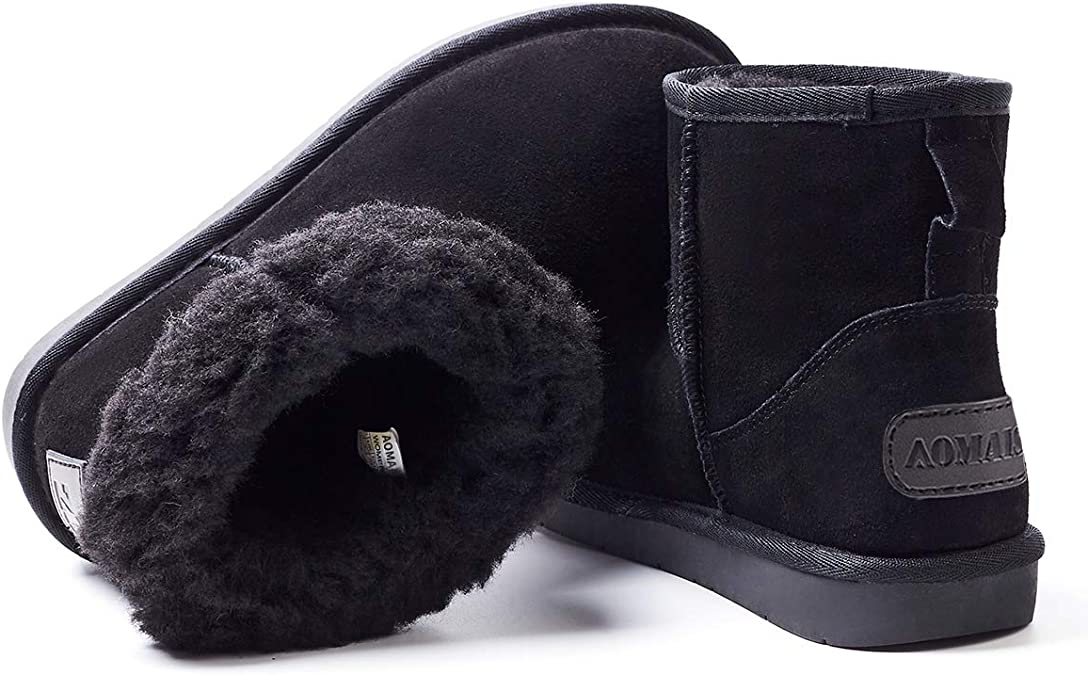 IDIFU Boys Girls Unisex Faux Fur Closed-Back Home Outdoor Winter Slippers Boots