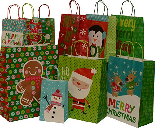 Christmas paper gift bags withRaffia handles, glitter accents, value pack, set of 10 bags, assorted sizes, new for 2016