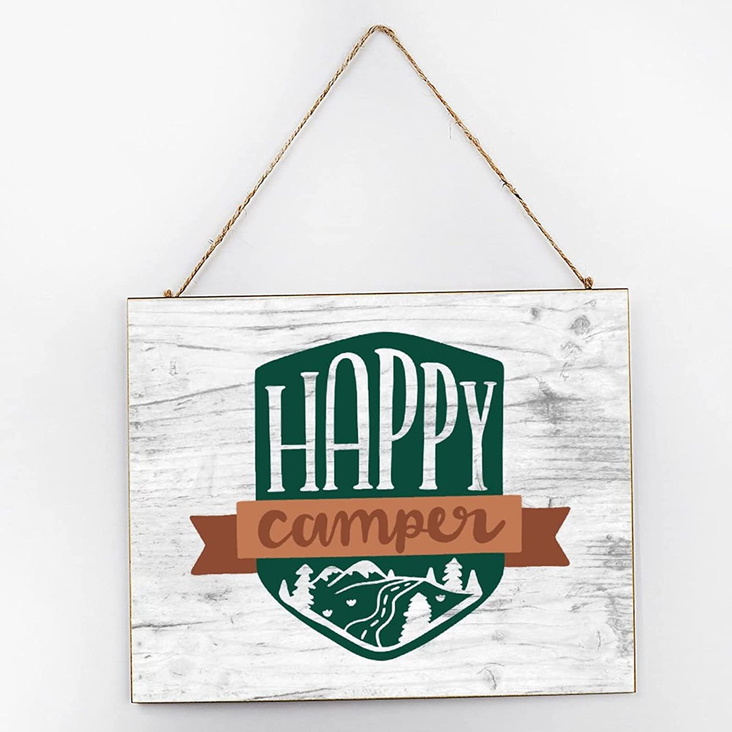 EricauBird Happy Camper Monogram Farmhouse Hanging Wood Sign Camping Quote Wood Plaque 10x12 Rustic Wall Decor Wall Art for Indoor Outdoor
