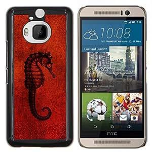 EJOOY---Cubierta de la caja de protección para la piel dura ** HTC One M9Plus M9+ M9 Plus ** --Seahorse Red