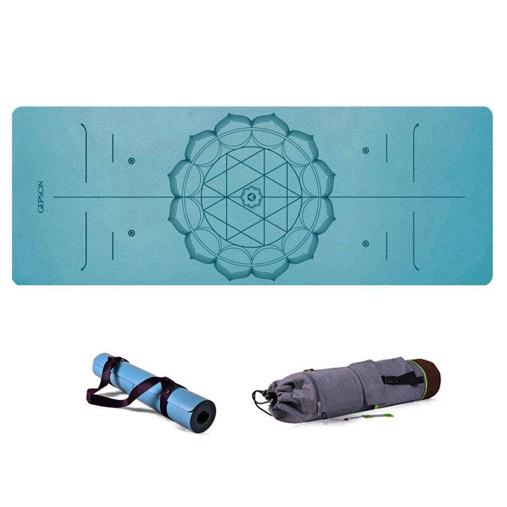 JH&& Yoga-Trainingsmatte, Erweiterung Workout-Matten für Pilates und Fitness, High-Density-Anti-Riss-Non-Slip Comfort 5mm Naturkautschuk mit Tragegurt Alignment Marker System (L183xW68CM) ++