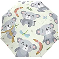 JSTEL Cartoon Style Koala Umbrella Auto Rain Windproof Compact 3 Folding Travel Umbrella UV Protection
