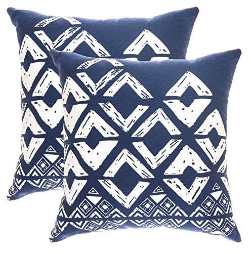 TreeWool Decorative Square Throw Pillow Covers Set Geometric Squares Accent 100% Cotton Cushion Cases Pillowcases (18 x 18 Inches / 45 x 45 cm; Navy Blue) - Pack of 2