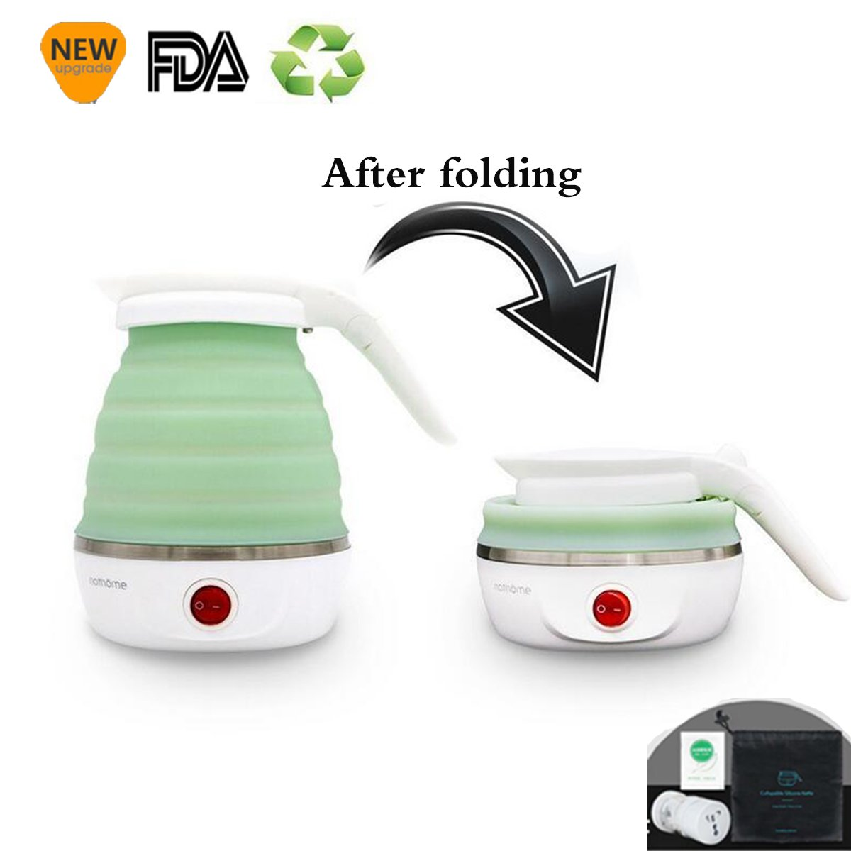 TQ@- Travel/Home Foldable Electric Kettle - Dual Voltage - Food Grade Silicone - Collapses For Easy & Convenient Storage - Boil Dry Protection, 0.6L - 100/120V & 220/240V -Green,Green CVCVBVHV BB