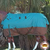 HILASON 69'' 1200D POLY WATERPROOF TURNOUT WINTER HORSE BLANKET TURQUOISE COPPER