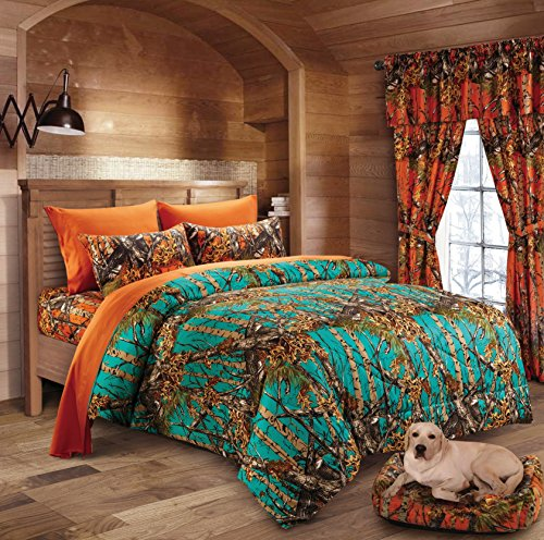 Hunter Camo Comforter, Sheet, & Pillowcase Set (Twin, Teal / - 20l Snow