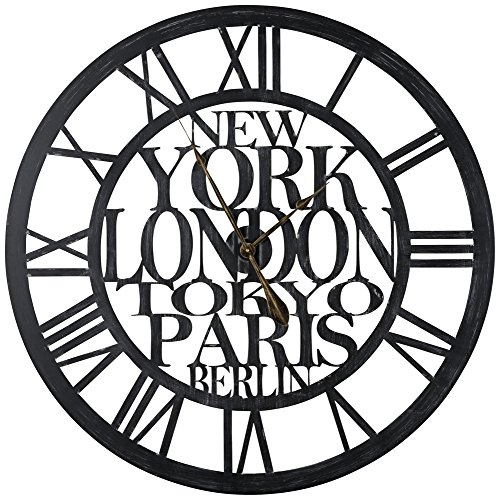 Cooper Classics Taban Black 37 3/4 Round Wall Clock (Clocks Wall London Sale)