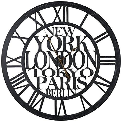 Cooper Classics Taban Black 37 3/4 Round Wall Clock (Clocks London Sale Wall)