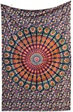 Amitus Exports TM Premium Quality 1 X Indian Mandala Dorm Flower Wall Hanging 81''x53''(Approx.) Inches Blue Multi Color Cotton Fabric Tapestry Hippy Indian Mandala Throws (Handmade In India)