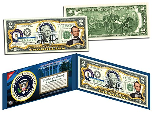 ABRAHAM LINCOLN * 16th U.S. President * Colorized $2 Bill - Genuine Legal Tender