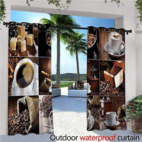 warmfamily Kitchen Indoor/Outdoor Single Panel Print Window Curtain Coffee Mugs Roasted Bean Silver Grommet Top Drape W108 x L108