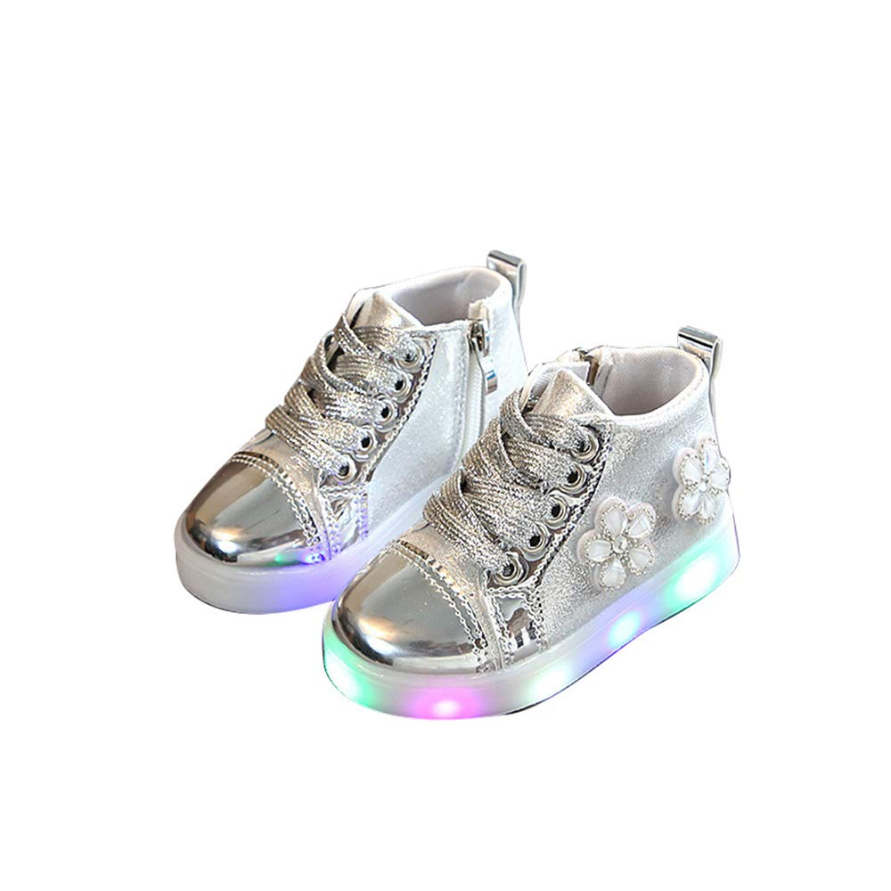 edv0d2v266 Children Kid Girls Boys Led Light Star Luminous Sport Mesh Student Casaul Shoes(Silver 29/11.5 M US Little Kid)