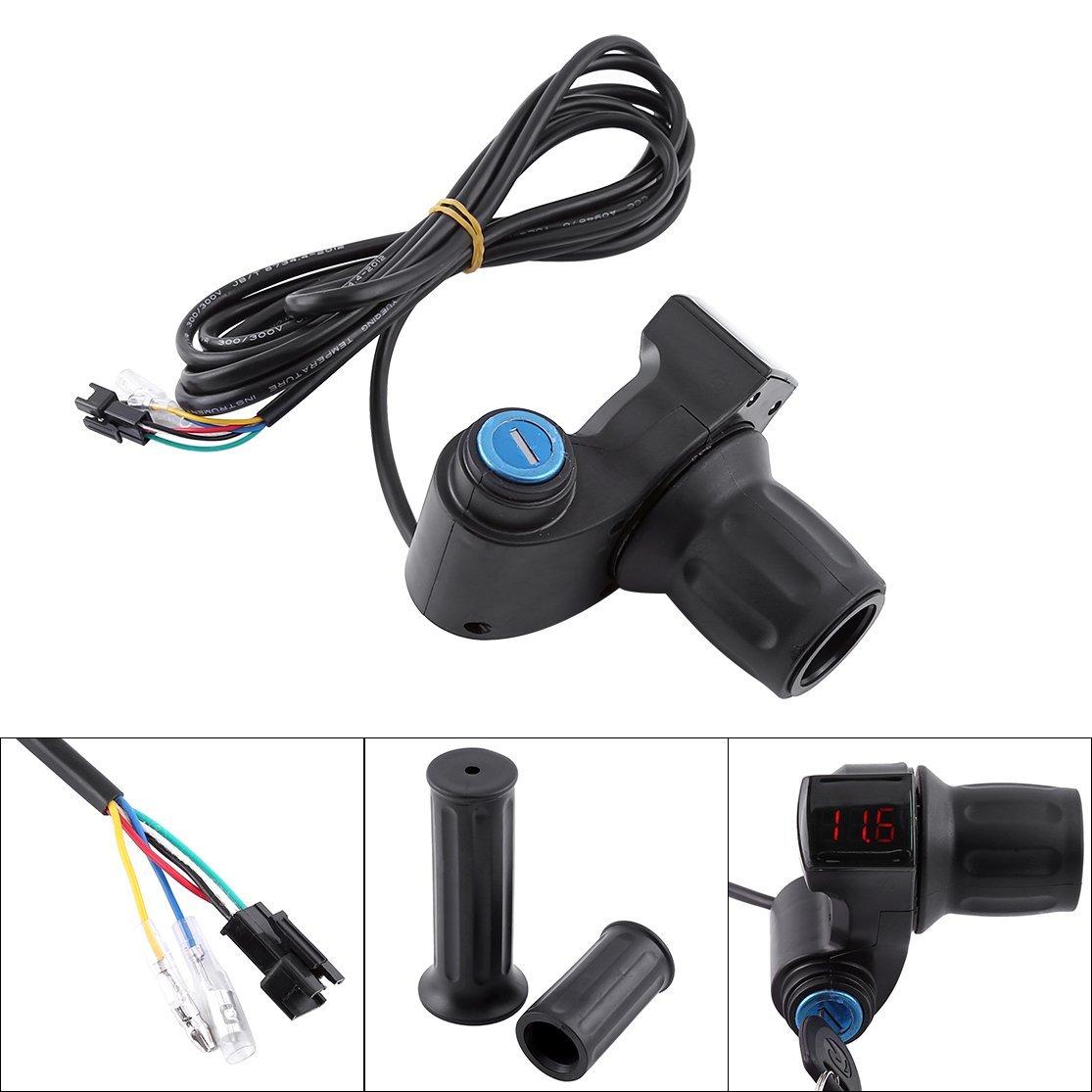 Elektrofahrrad Gasgriff Elektro-Scooter Batteriespannung mit LED-Anzeige und Power Key Locker Accelerator