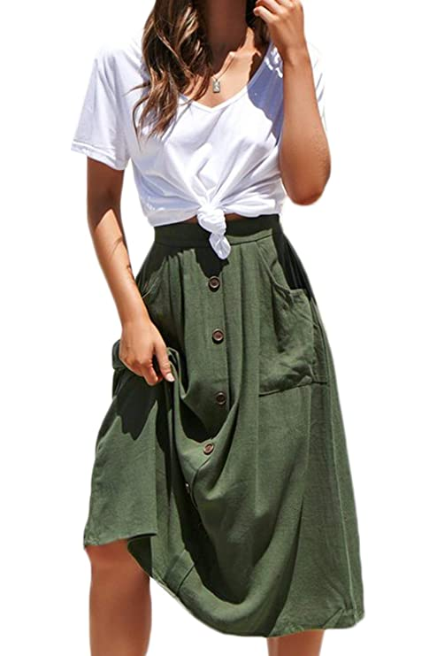 f4144e0618 Meyeeka Womens Casual High Waist Flared A-line Skirt Pleated Midi Skirt  with Pocket at Amazon Women's Clothing store:
