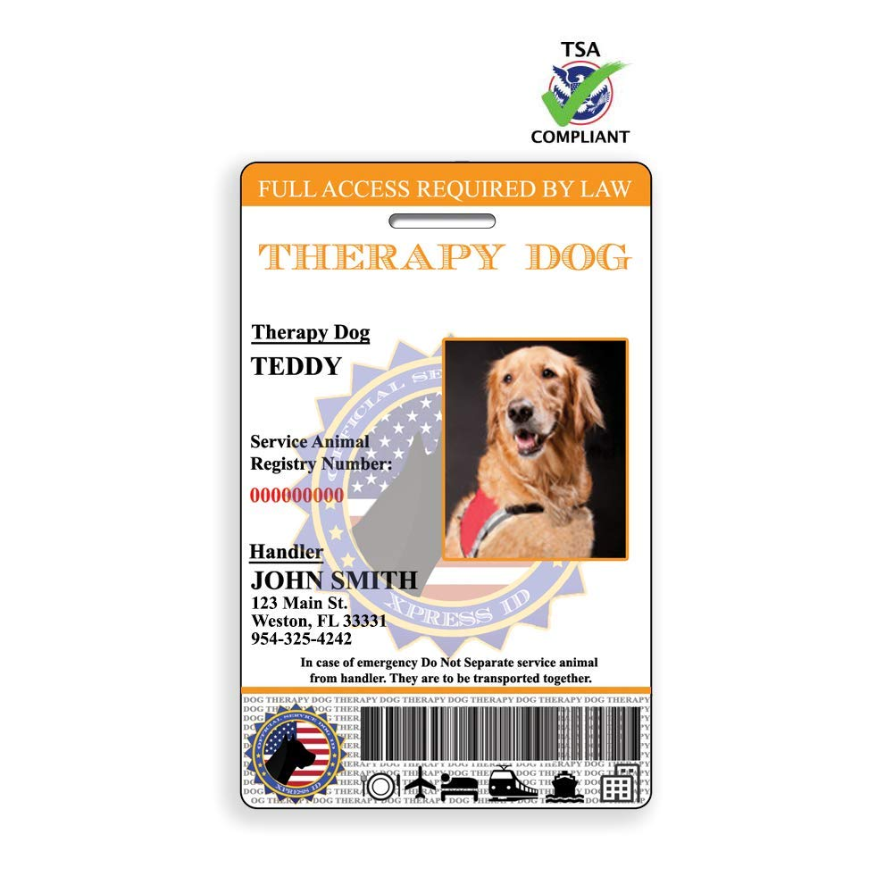 XpressID Holographic Therapy Dog ID Card (Custom) | Includes Registration to National Dog Registry by Xpress ID
