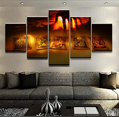 HIMFL Modern Canvas HD Print Wall Art Painting Picture 5 Panels Game Artistic Dark Hand Tarot Card Home Decor Living Room Poster