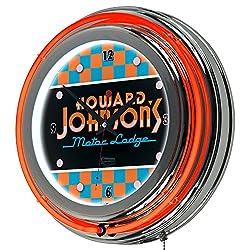 Howard Johnson Checkered Chrome Double Ring Neon Clock