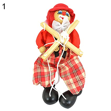 Amazon com: Shuohu Kids Pull String Clown Puppet Wooden