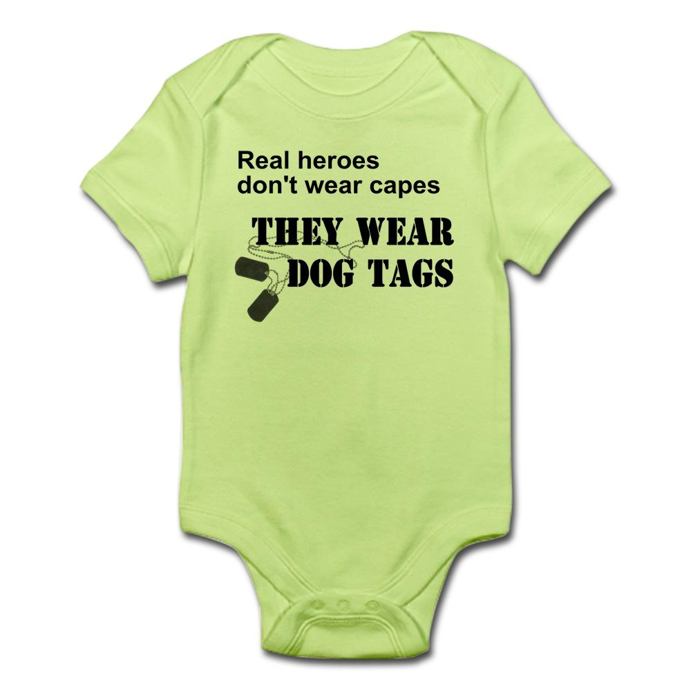 They wear dog tags Onesie Real Heros don/'t wear capes Great Shower Gift Romper