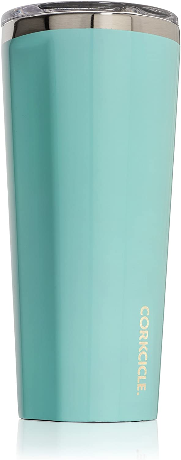 Corkcicle 24oz Tumbler - Classic Collection - Triple Insulated Stainless Steel Travel Mug, Gloss Turquoise