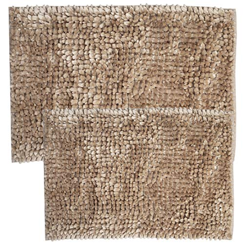 (Sweet Home Collection Bathroom Rugs Set 2 Piece Butter Chenille Noodle Soft Luxurious Absorbent Non Slip Latex Back Microfiber Bath Mat, Taupe)