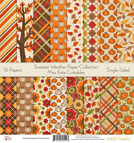 Pattern Paper Pack - Sweater Weather - Scrapbook Card Stock Single-Sided 12''x12'' Collection Includes 16 Sheets - by Miss Kate Cuttables by Miss Kate Cuttables