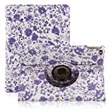 TOPCHANCES Slim Mordern Smart Cover Case for the iPad Air, iPad 5 with Auto Sleep/Wake Function Built in Stand-Green Embossed Flowerss Case (Huamulan Light Purple)