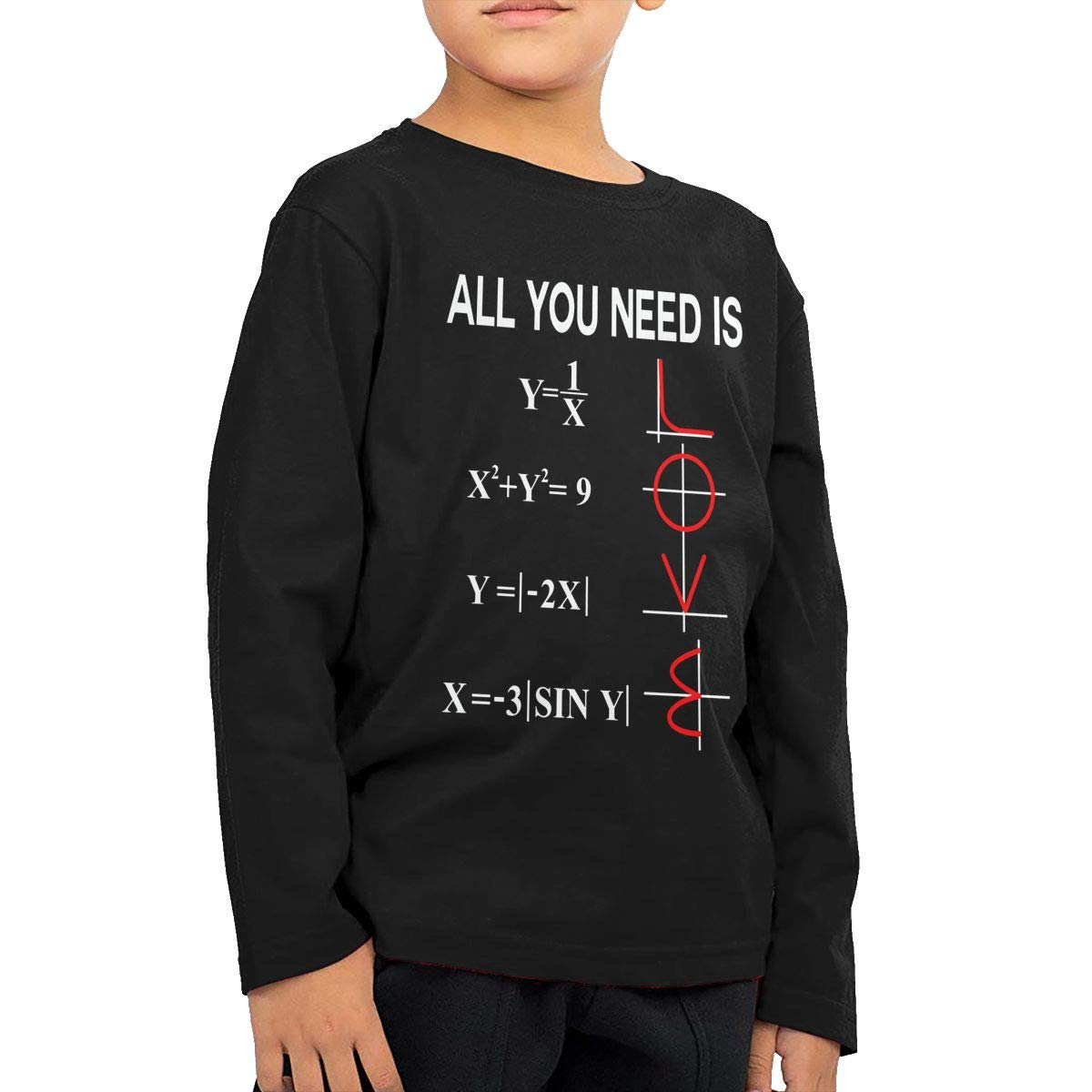 Newborn Childrens All You Need is Love Math Printed Long Sleeve 100/% Cotton Infants Tee Shirt