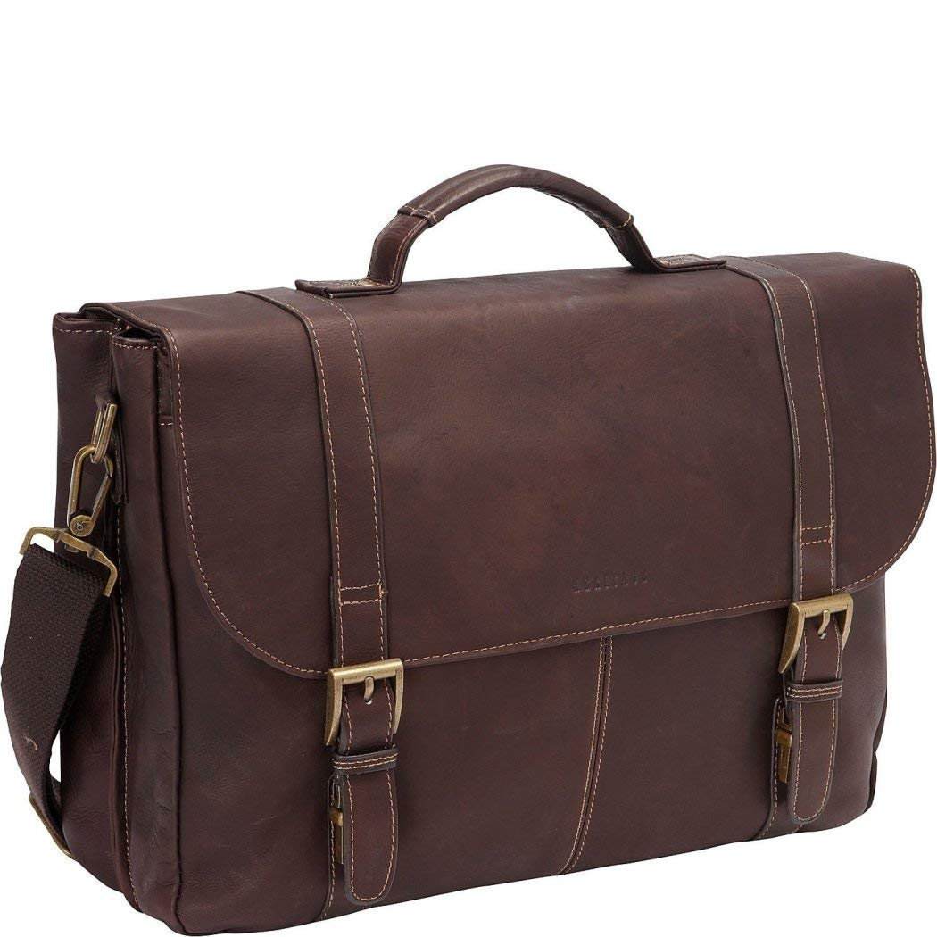 Brown Leather Attorney Briefcase Lawyers Messenger Bag for Business Laptops