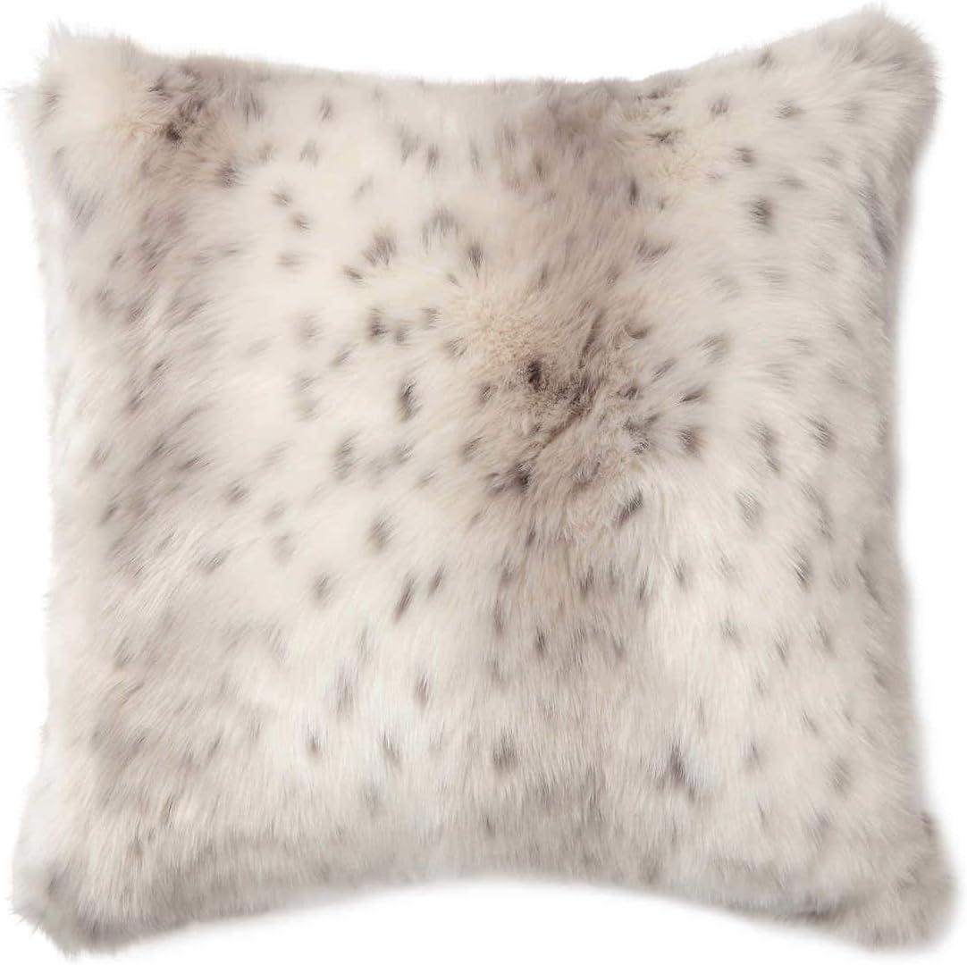 Snow Leopard Pillow Cover Faux Fur Pillow 18x18 set of 2