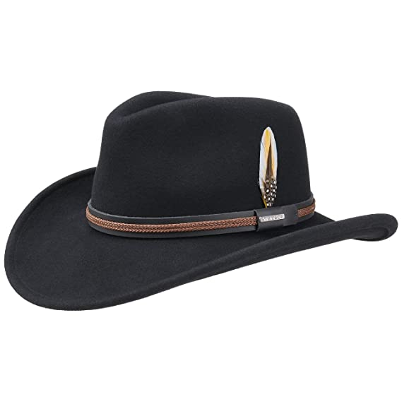 e1c7a2f0584 Stetson Chasney Western VitaFelt Hat Felt Outdoor (XL (60-61 cm) - Black)   Amazon.co.uk  Clothing
