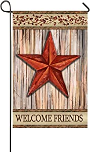 """Small Mim Welcome Friends Barn Red Star Garden Flag Holiday Decoration Double Sided Flag 12.5"""" x 18"""""""
