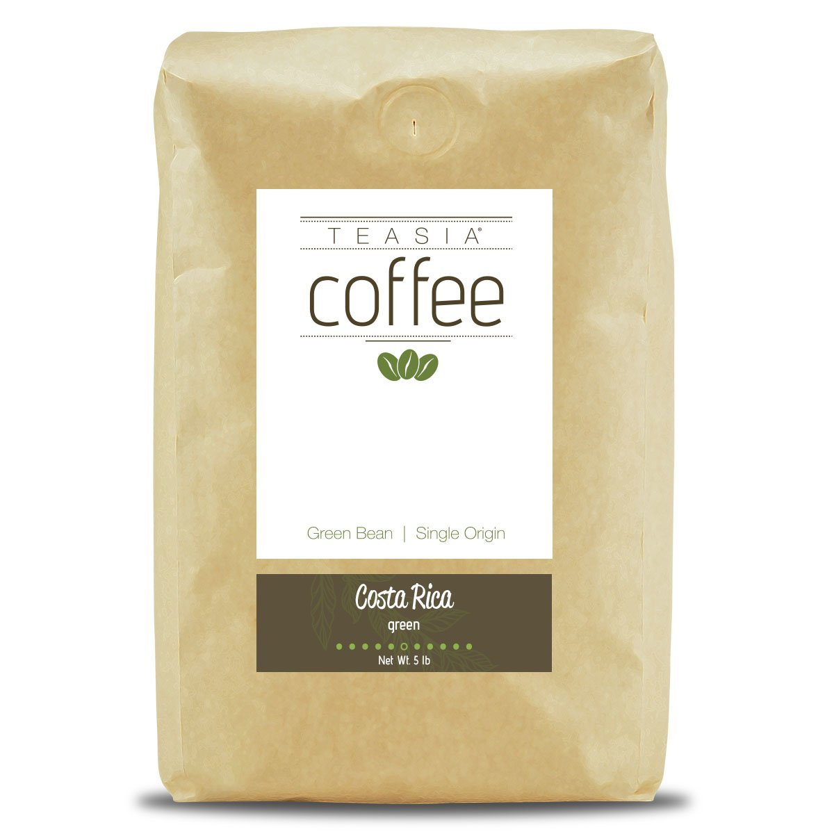 Teasia Coffee, Costa Rica, Single Origin, Green Unroasted Whole Coffee Beans, 5-Pound Bag