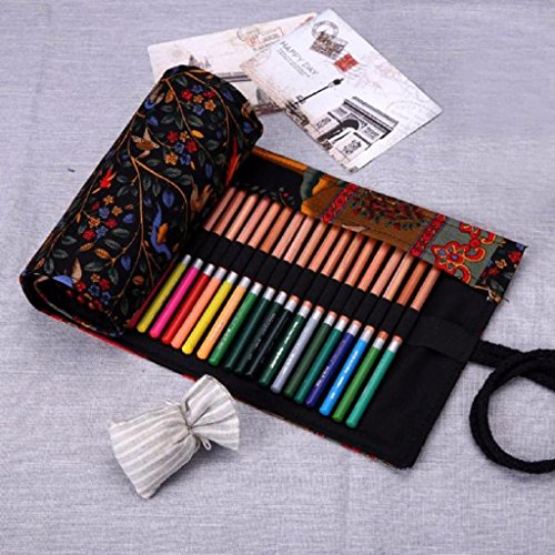 Mikey Store Fashion Canvas Stationery Bag Pencil Case, Pencil Bag, Pen Pocket Makeup Organizer (Black) (Fashion Stationery)