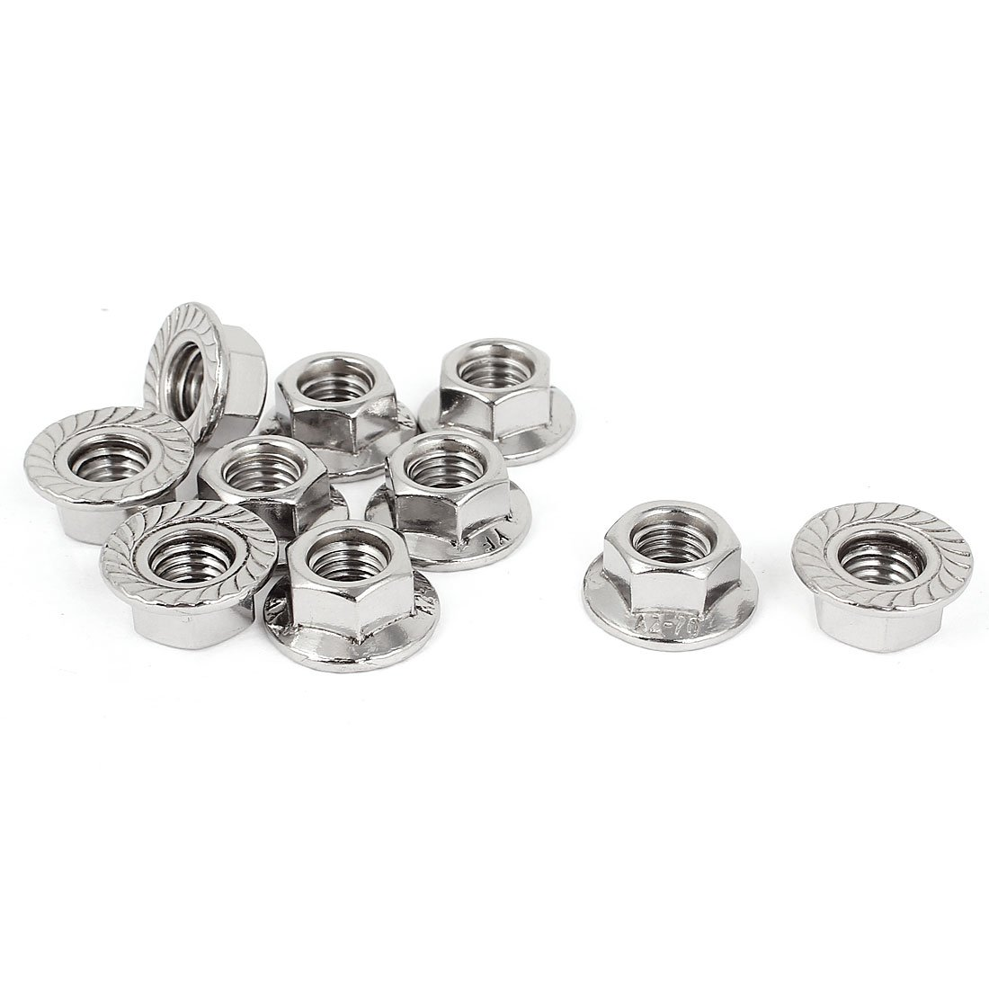 Pack of 10 Uxcell a15042300ux0041 22mm Diameter M10x1.5mm Stainless Steel Serrated Hex Flange Nuts