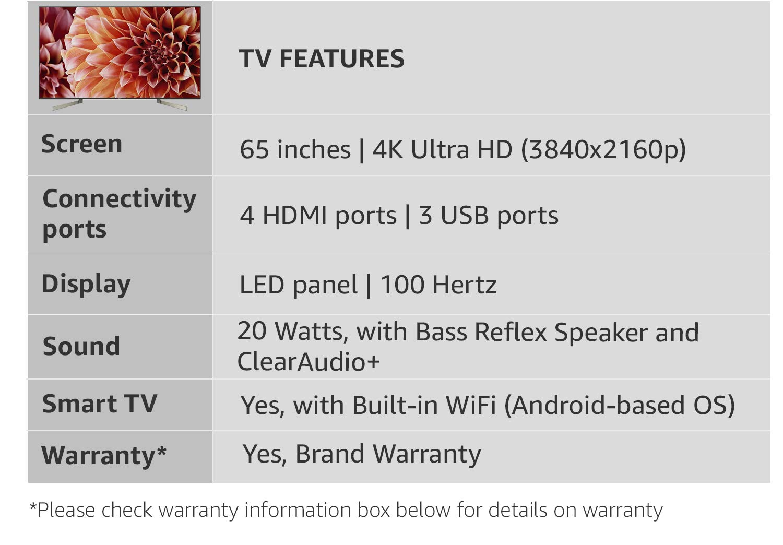 Sony Bravia 163 Cm 4k Uhd Led Smart Android Tv Amazonin Electronics