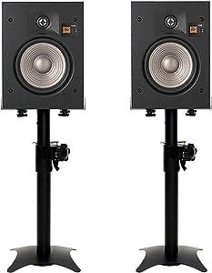mayqmay Set of 2 Heavy Duty Metal Speaker Stands Desktop Bookshelf Satellite Speaker Floor Stand Adjustable Height and Width, for Home Theater or PA DJ Club, Black, P35