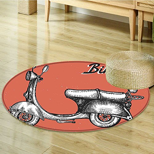 Small round rug Carpet Scooter Sign For Bike Rent Classic Art Red Black White door mat indoors Bathroom Mats Non Slip-Round -