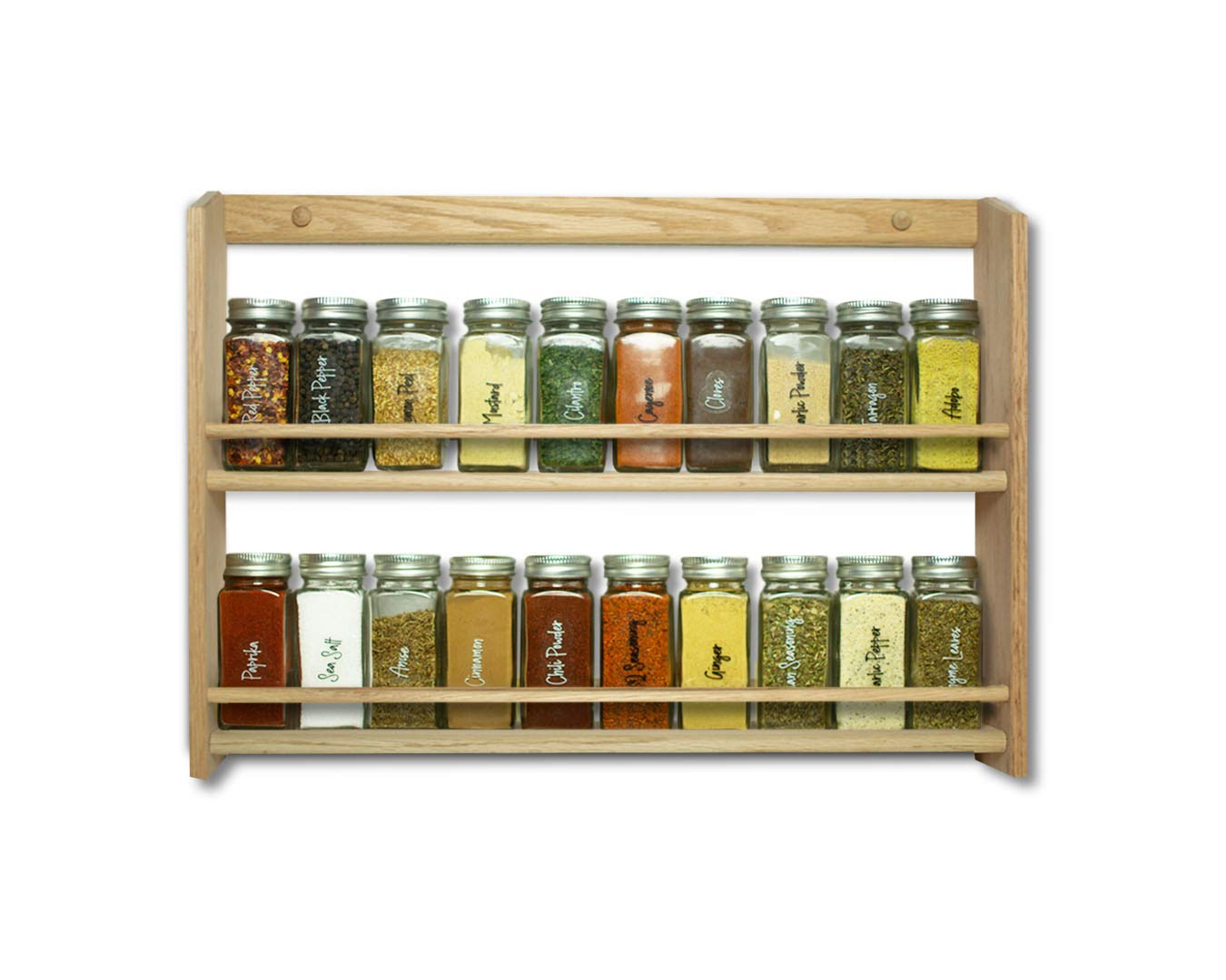 Buy Ems Solid Oak Wood Spice Rack Organizer 2 Tier Wall Mounted Seasoning Storage For Pantry And Kitchen Natural Finish 14 25 H X 20 W X 2 75 D Online At Low Prices In