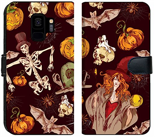 Luxlady Samsung Galaxy S9 Flip Fabric Wallet Case Image ID: 31729602 Halloween Colored Sketch Seamless Pattern with Witch bat Spider Vector i -