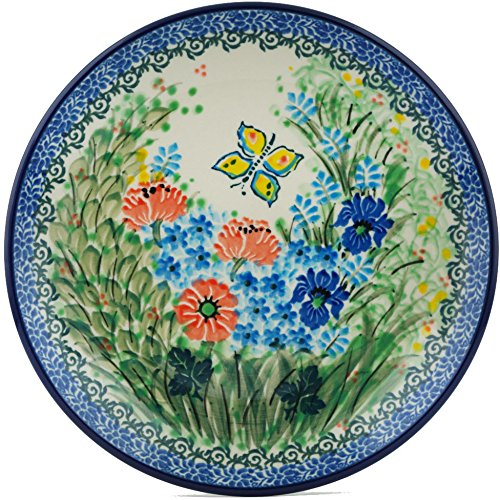 Polish Pottery Dessert Plate 8-inch Butterfly Meadow UNIKAT made by Ceramika Artystyczna