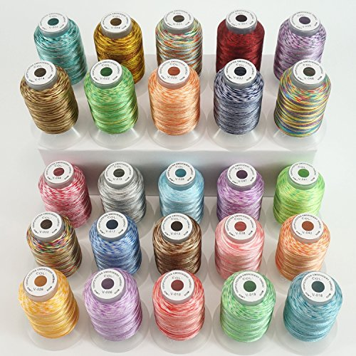 New Brothread 25 Colors Variegated Polyester Embroidery Machine Thread Kit 500M (550Y) Each Spool for Janome Brother Pfaff Babylock Singer Bernina Husqvaran Embroidery and Sewing (Variegated Sewing)