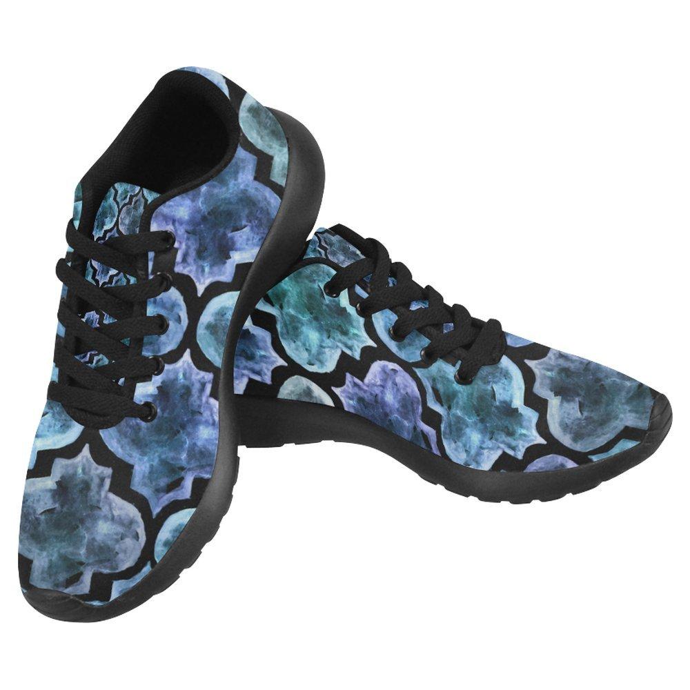 InterestPrint Women's Jogging Running Sneaker Lightweight Go Easy Walking Casual Comfort Sports Running Shoes Size 12 Moroccan Style Blue