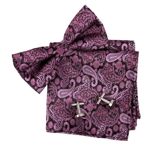 Bowtie Patterned Silk Pre-tied Bowtie Cufflink Hanky Handmade Store Gifts Giving Set ()