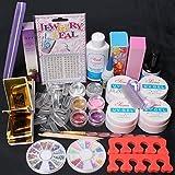 ReNext Nail Art Comb Set UV Gel Kit UV Brush Buffer Guides Toe Seperator Glitter Powder Dryer Liquid Tools Nail Tips Glue DIY Kit #168 (G)